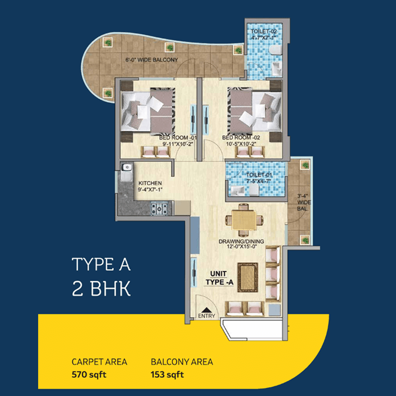 Mahira Homes 103 Floor Plan 2 bhk Type A