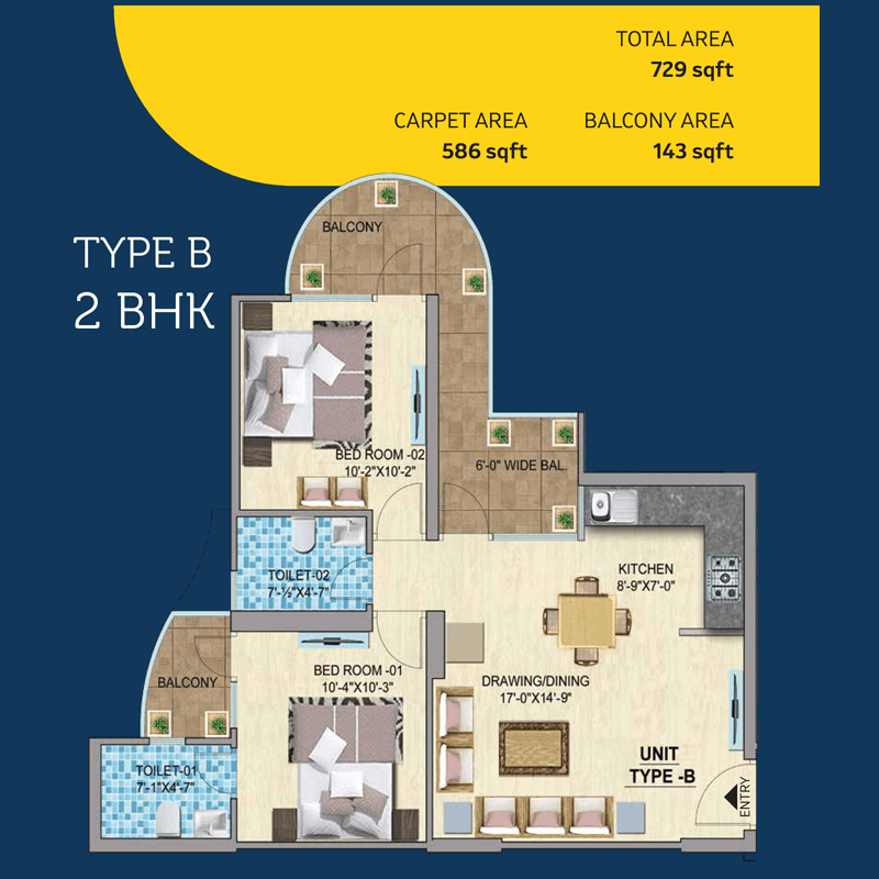 Mahira Homes 103 Floor Plan 2 bhk Type B