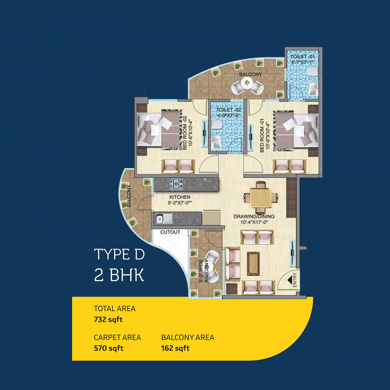 Mahira Homes 103 Floor Plan 2 bhk Type D