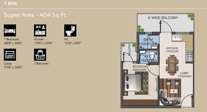Supertech Basera 1 BHK Category 1 Floor Plan